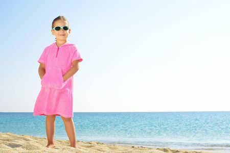 sithonia: Adorable toddler girl on the beach