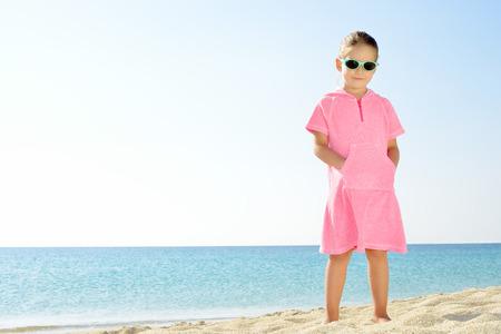 kyklades: Adorable toddler girl on the beach