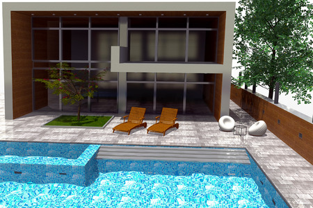 3d swimming pool: 3D rendering of modern mansion with swimming pool