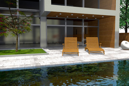 diminishing perspective: 3D rendering of modern mansion with swimming pool