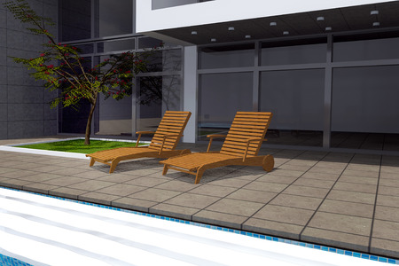 swimming pool home: 3D rendering of modern mansion with swimming pool
