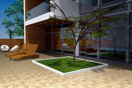 mansion: 3D rendering of modern mansion, backyard detail Stock Photo