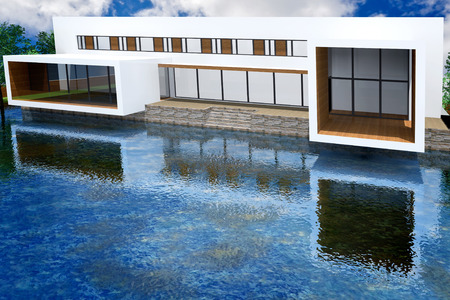 mansion: 3D rendering of modern mansion with swimming pool
