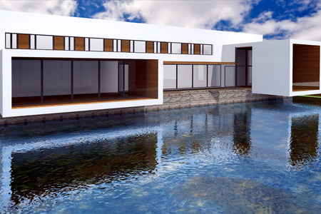 vanish: 3D rendering of modern mansion with swimming pool