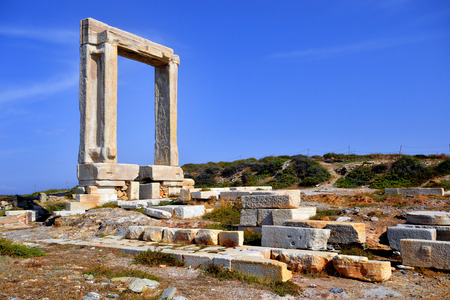 lintel: Portara of Naxos, famous landmark of Cyclades, Greece Stock Photo
