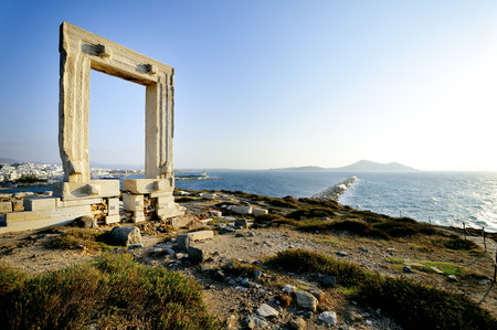 cyclades: Portara of Naxos, famous landmark of Cyclades, Greece Stock Photo