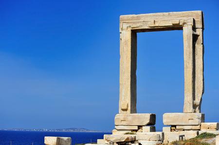 naxos: Portara of Naxos, famous landmark of Cyclades, Greece Stock Photo
