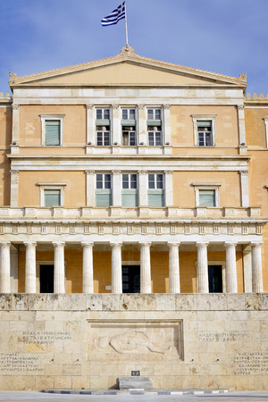 tomb of the unknown soldier: ATHENS, GREECE - SEPTEMBER 2:Parliament building with tomb of unknown soldier few days before elections in Athens on September 2, 2015 in Athens, Greece