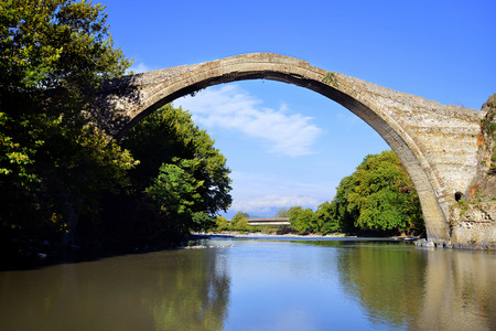 restauration: Konitsa bridge over Aoos river in Greece