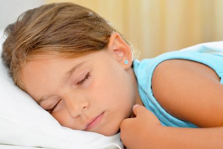 sweet dreams: Real adorable girl sleeping, sweet dreams Stock Photo