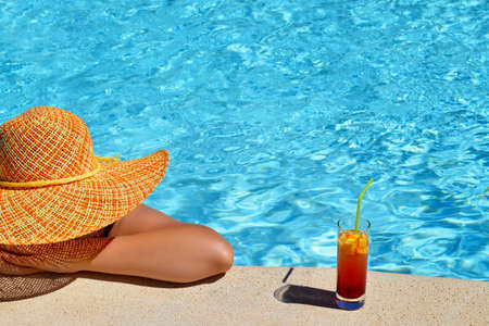 thassos: Real female beauty enjoying her summer vacation at swimming pool
