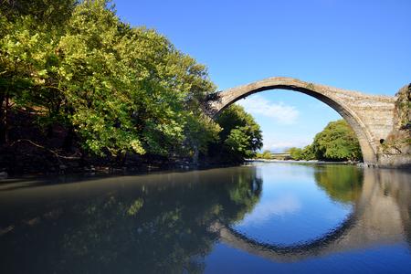 restauration: Famous Konitsa bridge, Greece Stock Photo