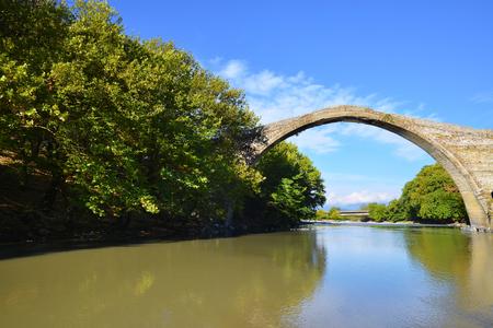 restauration: Famous Konitsa bridge, Pindus, Greece Stock Photo