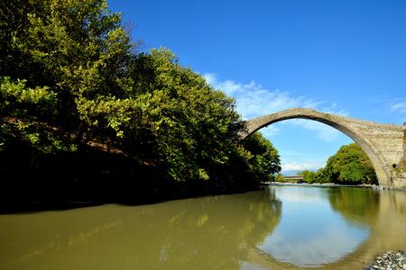 restauration: Famous Konitsa bridge, Pindos, Greece