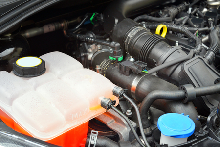 gasoline powered: Closeup image of new 3 cylinder car engine powered by gasoline Stock Photo