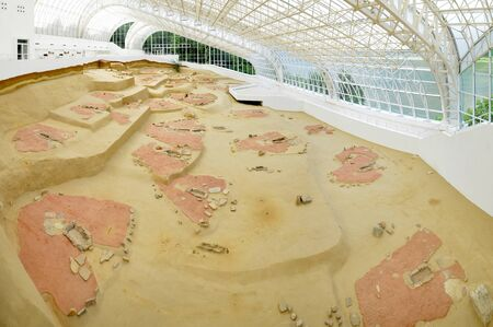LEPENSKI VIR, SERBIA - MAY 22: Roofing of the world-famous mesolithic archaeological excavations on May 22 2016. Lepenski Vir is located on the bank of the Danube river. Editorial