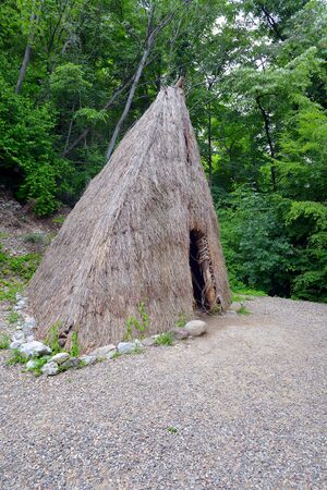 LEPENSKI VIR, SERBIA - MAY 22: Reconstruction of the world-famous mesolithic house at archaeological site lepenski vir on May 22 2016. Lepenski Vir is located on the bank of the Danube river in Serbia