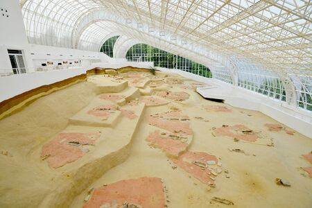 LEPENSKI VIR, SERBIA - MAY 22: World famous mesolithic archaeological excavations site on May 22 2016. Lepenski Vir is located on the bank of the Danube river in Serbia