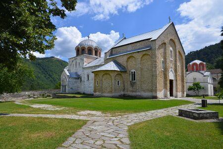 monastery nature: Studenica monastery, Serbian orthodox monastery located near city of Kraljevo Stock Photo