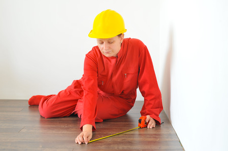 measures: Real architect taking measures, home renovation concept Stock Photo