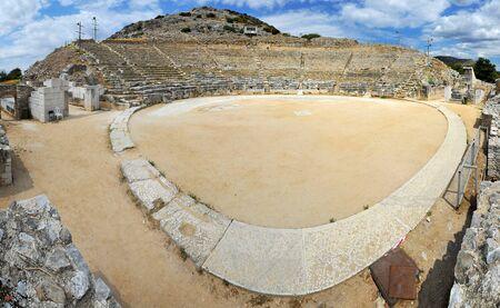 teatro antiguo: Ancient theatre at Filipi, 180 panorama,  Kavala, Greece