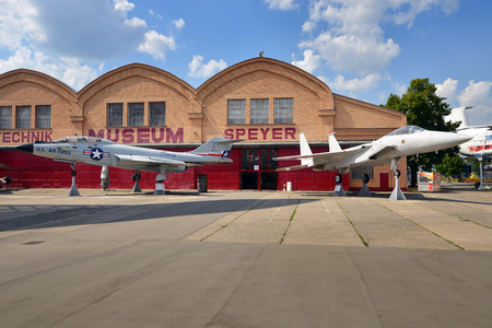 SPEYER, GERMANY - JULY 7: Military airplanes on display at the Technik Museum Speyer, on July 7. 2017 in Speyer, Germany