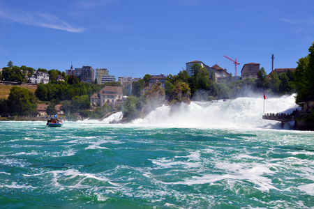 SCHAFFHAUSEN, SWITZERLAND - JULY 5: Falls of Rhine river, on July 5. 2017 in Schaffhausen, Switzerland