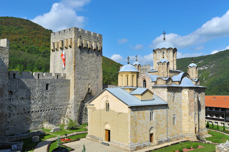 DESPOTOVAC, SERBIA - SEPTEMBER 13:Medieval Serbian Otrhodox Monastery Manasija, on September 13. 2017. in Despotovac, Serbia
