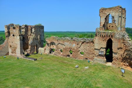 BAC, SERBIA - JUNE 27: Ruins of medieval castle Bac, founded in 9th century, on June 27.2019. in Bac, Serbia