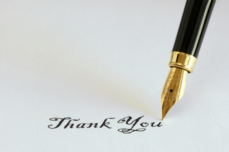 Thank you message written with fountain pen
