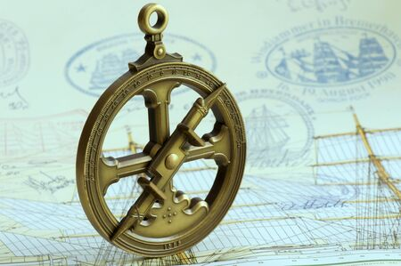 deg: Replica of a navigational time of discovery  A astrolabe, 1555