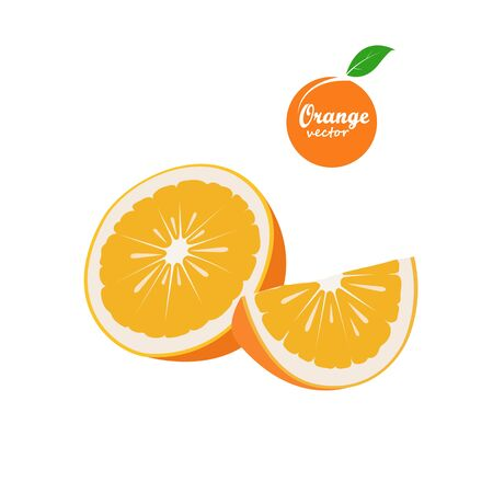 Orange fruit and slices isolated on white background. vector illustrator