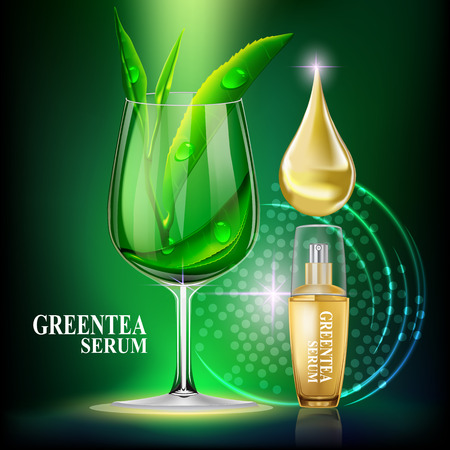 anti aging: Greentea serum. Beauty Concept Skin Care Cosmetic.Background Vector Concept with gold drop of water , gold bottle and greentea leaves  in the wine glass  on green background