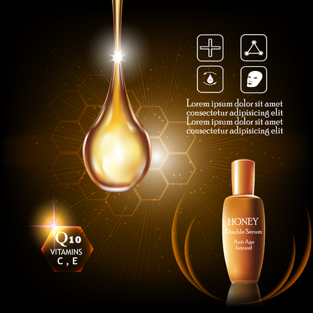 anti age: Honey double Serum and Vitamin Beauty Concept Skin Care Cosmetic.Background Vector Concept , serum anti age intensive Illustration