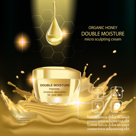 absorption: Double moisture cream, Improves moisture absorption for skin in the gold jar above gold splash water