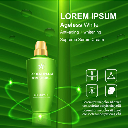 Serum cream and Vitamin Beauty Concept Skin Care Cosmetic.Background Vector Concept on green banana leave , serum anti aging whitening and ageless white for skin naturals