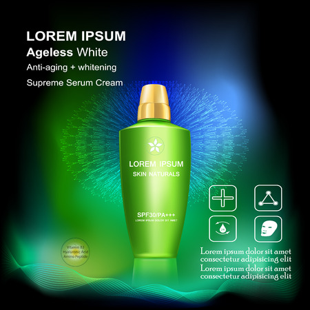 anti aging: Supreme Serum cream and Vitamin Beauty Concept Skin Care Cosmetic.Background Vector Concept , serum anti aging whitening and ageless white for skin naturals Illustration