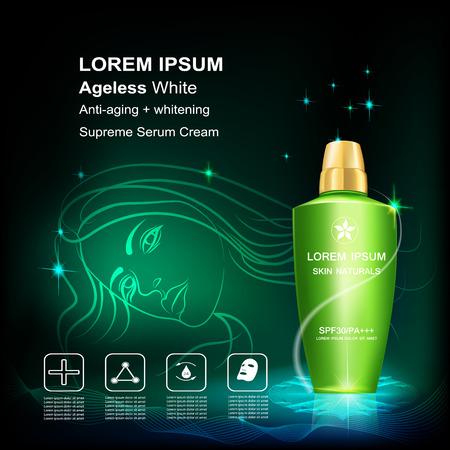 intensive care: Serum and Vitamin Beauty Concept Skin Care Cosmetic.Background Vector Concept , serum anti aging , whitenig  intensive cream
