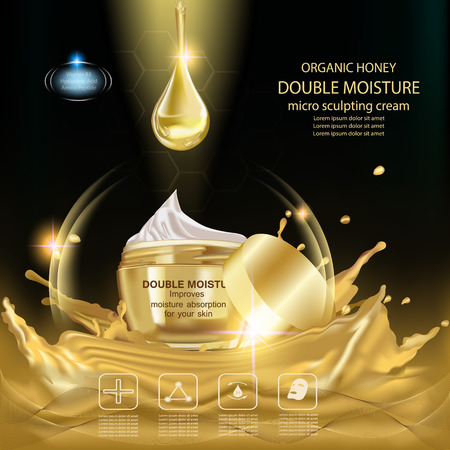 Double moisture cream, Improves moisture absorption for skin in the gold jar above gold splash water