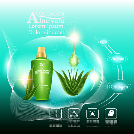 Serum cream and Vitamin Beauty Concept Skin Care Cosmetic.Background Vector Concept with green aloe vera  leave , serum anti aging whitening and ageless white for skin naturals