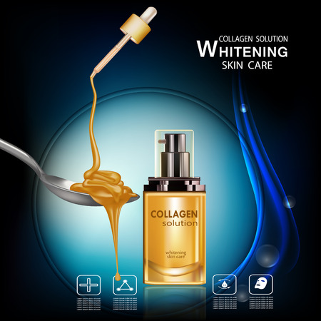 Honey Collagen  and Serum Beauty Concept Skin Care Cosmetic.Background Vector Concept , collagen for whitening