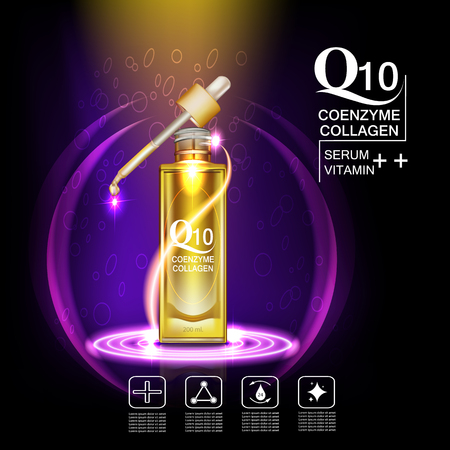 anti aging: Q10  coenzyme , collagen and Serum , Background Vector Concept with gold package  in lighting effect ellipse Illustration