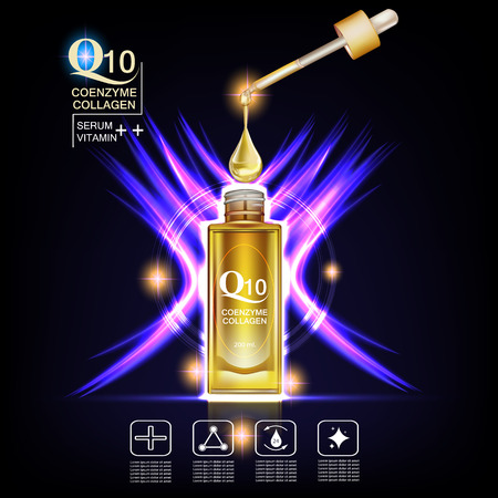 Q10  coenzyme , collagen and Serum , Background Vector Concept with  dropper , gold water drop ,  gold package in lighting effect ellipse Illustration