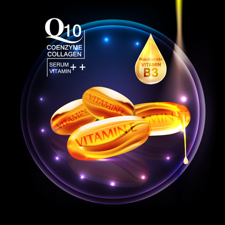 serum: Q10  coenzyme , collagen ,vitamin and Serum , Background Vector Concept with Serum Capsules , gold drop water in lighting effect ellipse Illustration