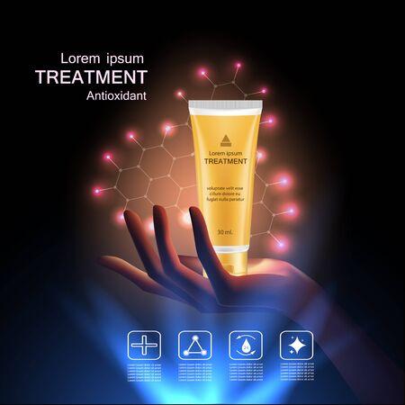 Trattamento crema antiossidante, la vitamina Beauty Concept Skin Care Cosmetic.Background concetto di vettore con il pacchetto d'oro in mano e l'illuminazione effetto