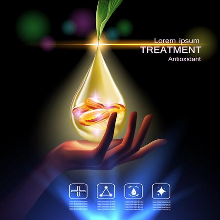 Trattamento crema antiossidante, la vitamina Beauty Concept Cura della pelle Cosmetic.Background concetto di vettore con capsule di vitamina E in goccia d'oro di acqua dal tagliente foglia sopra bellezza mano Vettoriali