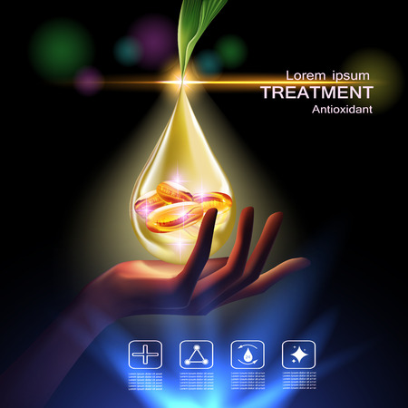 Treatment antioxidant cream , Vitamin Beauty Concept Skin Care Cosmetic.Background Vector Concept with Vitamin E Capsules in gold drop of water from sharp leaf above beauty hand Vektorové ilustrace