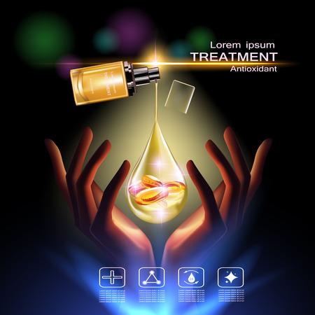 Trattamento crema antiossidante, la vitamina Beauty Concept Cura della pelle Cosmetic.Background concetto di vettore con la vitamina E capsule in oro goccia d'acqua dalla bottiglia in oro sopra bellezza a due mani