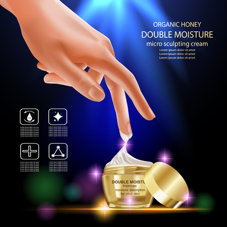 absorption: Double moisture cream, Improves moisture absorption for skin in the gold jar and beauty hand