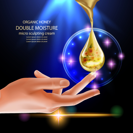 absorption: Double moisture cream, Improves moisture absorption for skin.  Cosmetic.Background Vector Concept with  flower in gold drop of water from sharp splash above beauty hand Illustration
